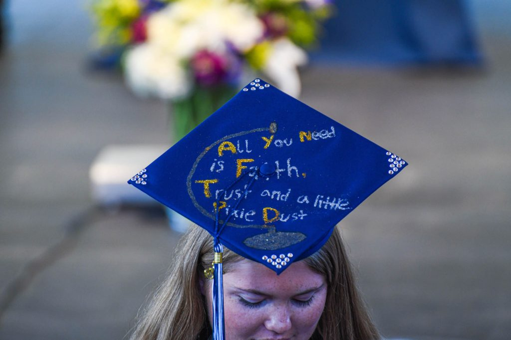 One of the mortar boards on display at Friday's Vail Mountain School commencement at Ford Amphitheater.