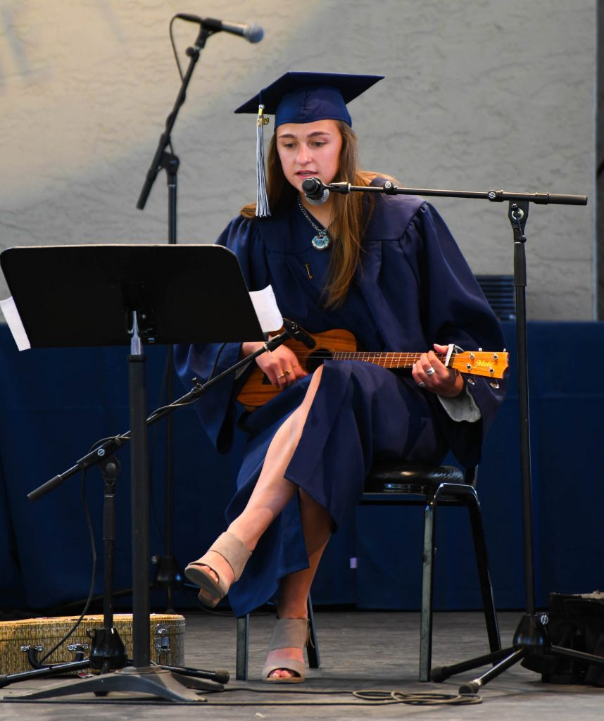 Samantha Gish performs an original song Friday at Ford Amphitheater at Vail Mountain School's commencement.