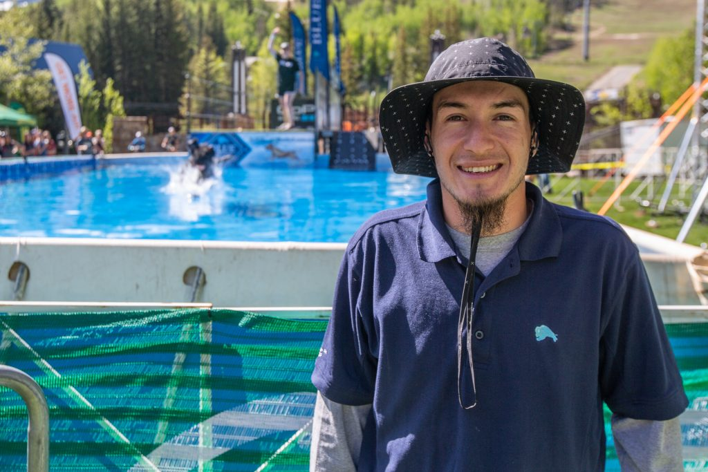 Steve Sanchez is the announcer for the DockDogs events at GoPro Mountain Games.