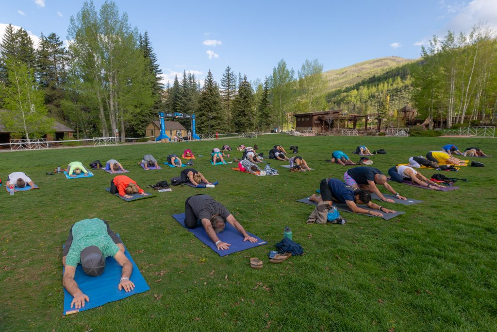 Yoga Saturday morning at Ford Park at the GoPro Mountain Games.