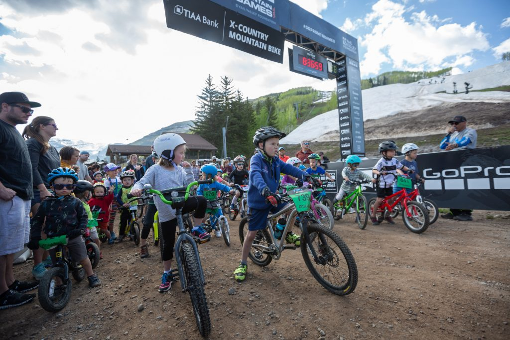 T-minus five seconds to go and the six and under x-country mountain bike race, Saturday at the GoProMountain Games.
