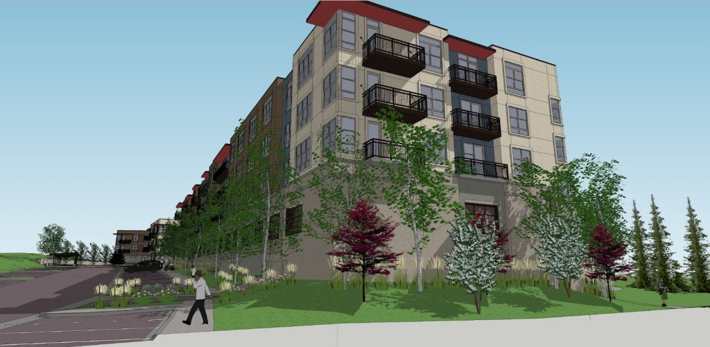 The apartments proposal would include 240 homes in eight buildings.