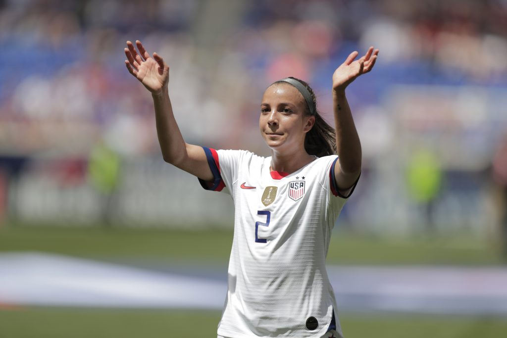 United States forward Mallory Pugh is introduced during a send-off ceremony ahead of the FIFA Women's World Cup after an international friendly soccer match against Mexico, Sunday, May 26, 2019, in Harrison, N.J. The U.S. won 3-0. (AP Photo/Julio Cortez)