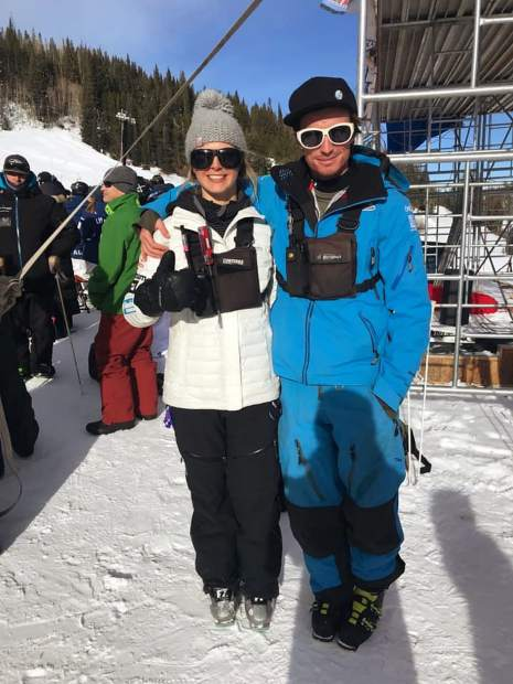 Frisco native Riley Campbell poses for a photo with one of the country's top young mogul skiers, Morgan Schild.
