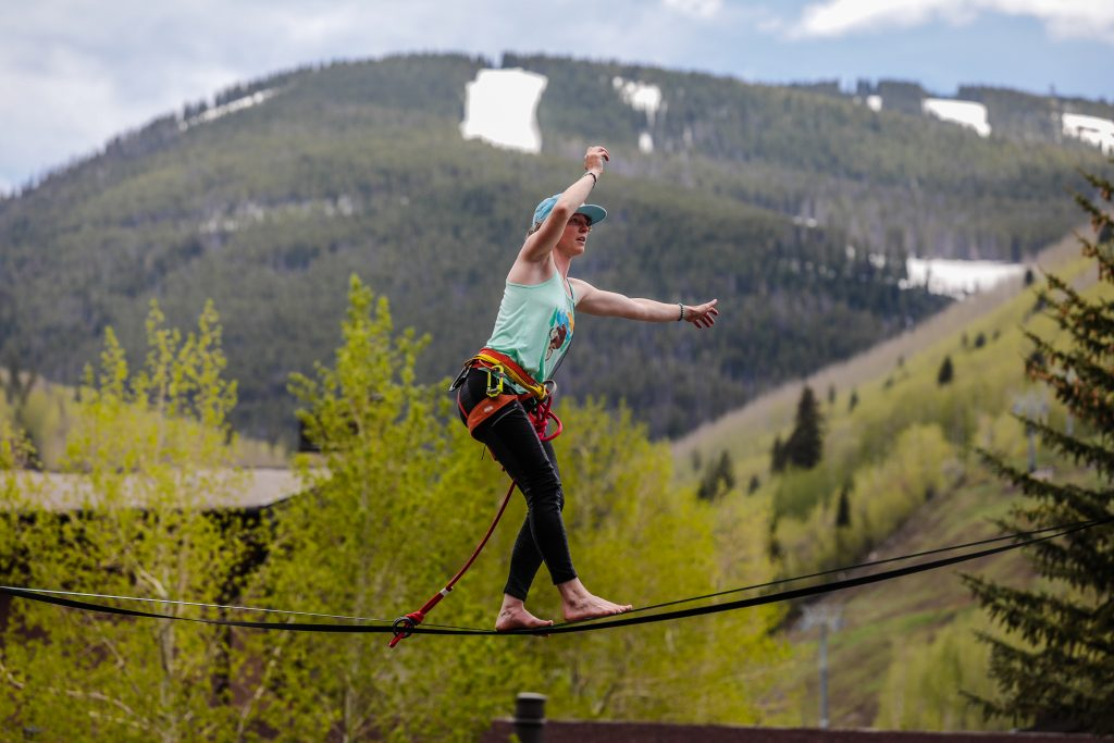 Kiley Hartigan of Boulder is first to compete in the GoPro Mountain Games Highline Speed Walk competition Friday in Vail. This was the first speed walk highline competition in the United States.