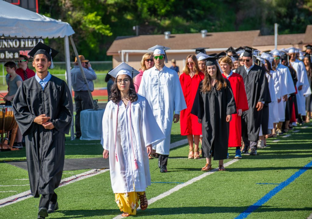 Eagle Valley High School students during the graduation processional on Saturday.