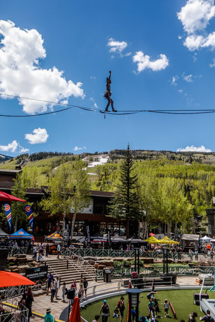 New this year is the Highline Speed Walk as competitors train for the first day of the GoPro Mountain Games Thursday in Vail. Crowds are expected to be large as the weather is supposed to be excellent.