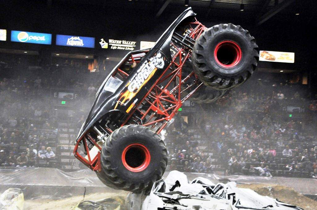 Ghost Ryder plows over a crushed vehicle obstacle course. The famed truck will be part of the No Limits Monster Truck event staged today, June 15, at the Eagle County Fairgrounds. Shows will be presented at 2 p.m. and 7 p.m.