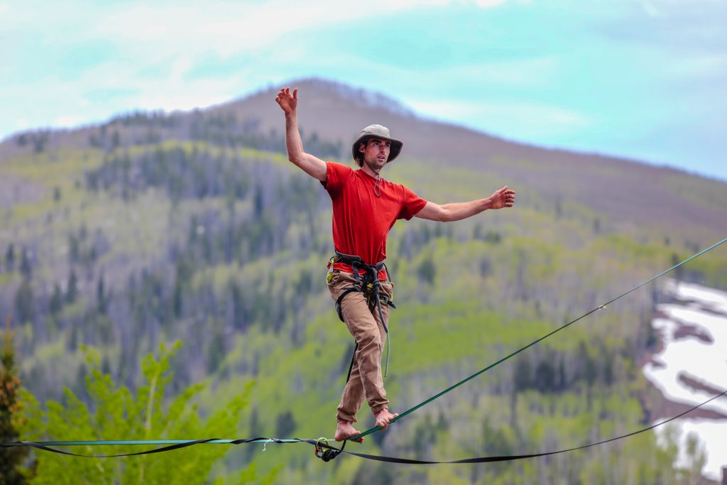 Logan O'brien Lyons, Colo., competes in the Highline Speed Walk competition for the GoPro Mountain Games Friday in Vail.