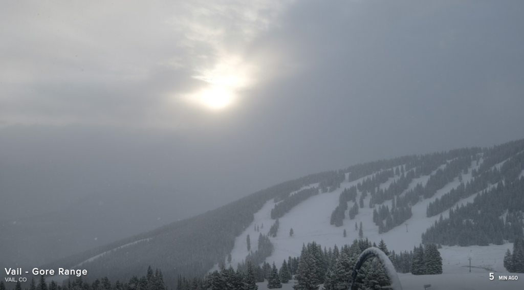 The Gore Range was shrouded in clouds as seen from Vail Mountain Saturday.