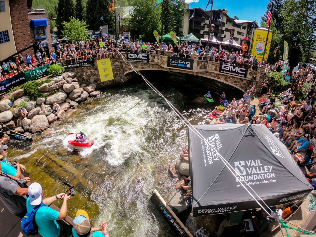 The International Bridge area of Vail Village plays host to many of the whitewater events during the GoPro Mountain Games.