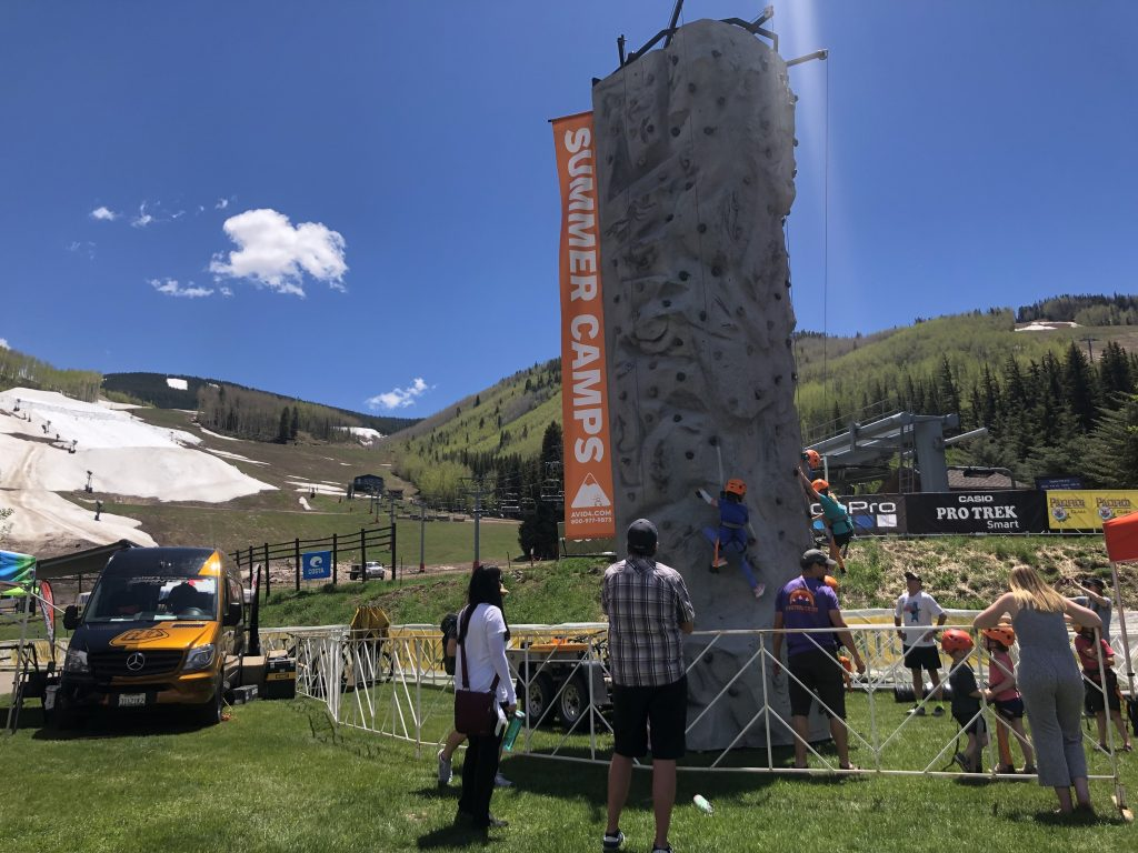 The kids climbing wall at the GoPro Mountain Games