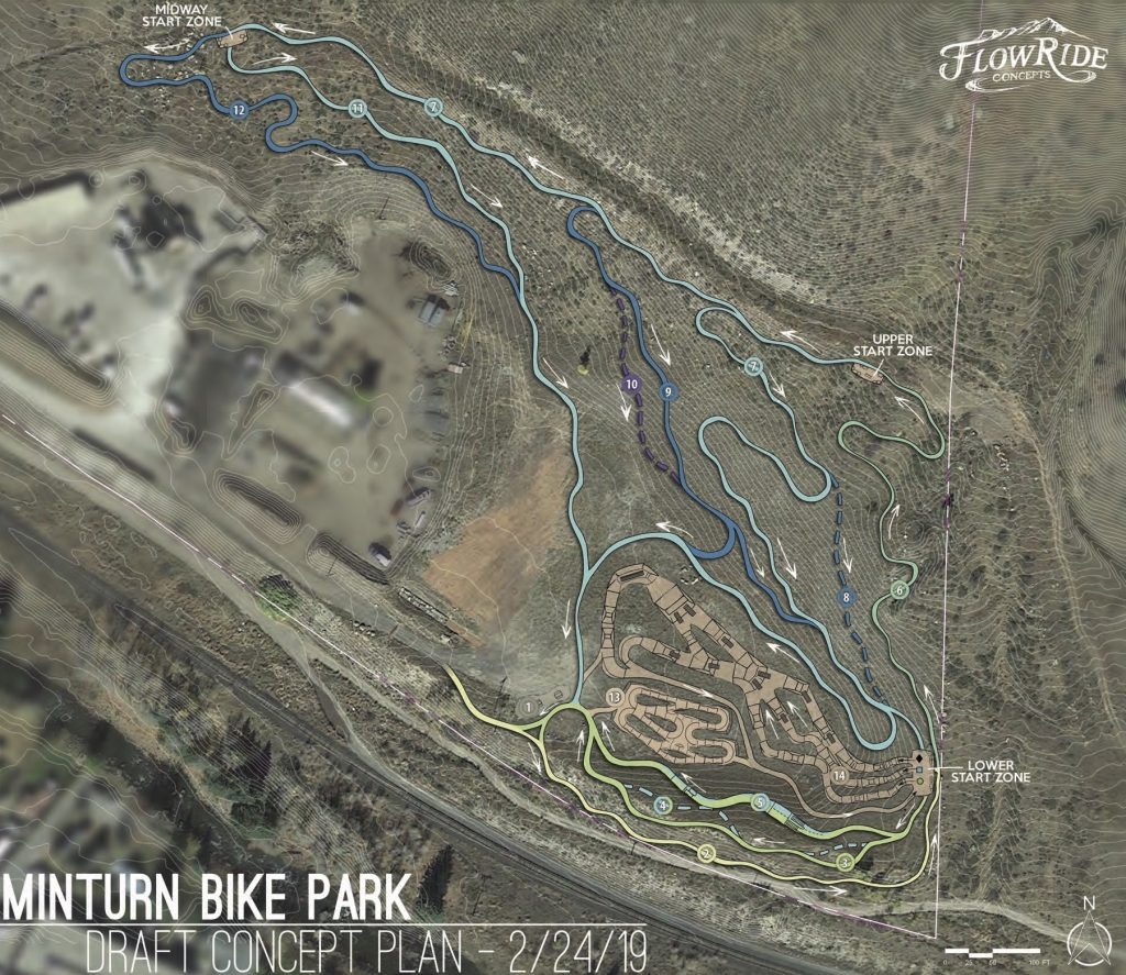 FlowRide Concepts, a Denver-based bike park and trail design and construction company, created this plan for a Minturn bike park.
