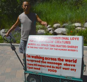Bing Bing Li walks through Vail on his global quest to spread love one step at a time