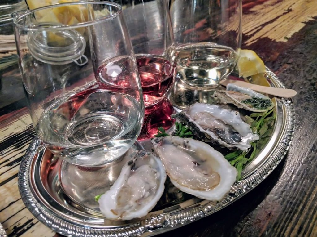 The Shuck Brothers typically have east coast and west coast varieties of oysters at their pop up events.