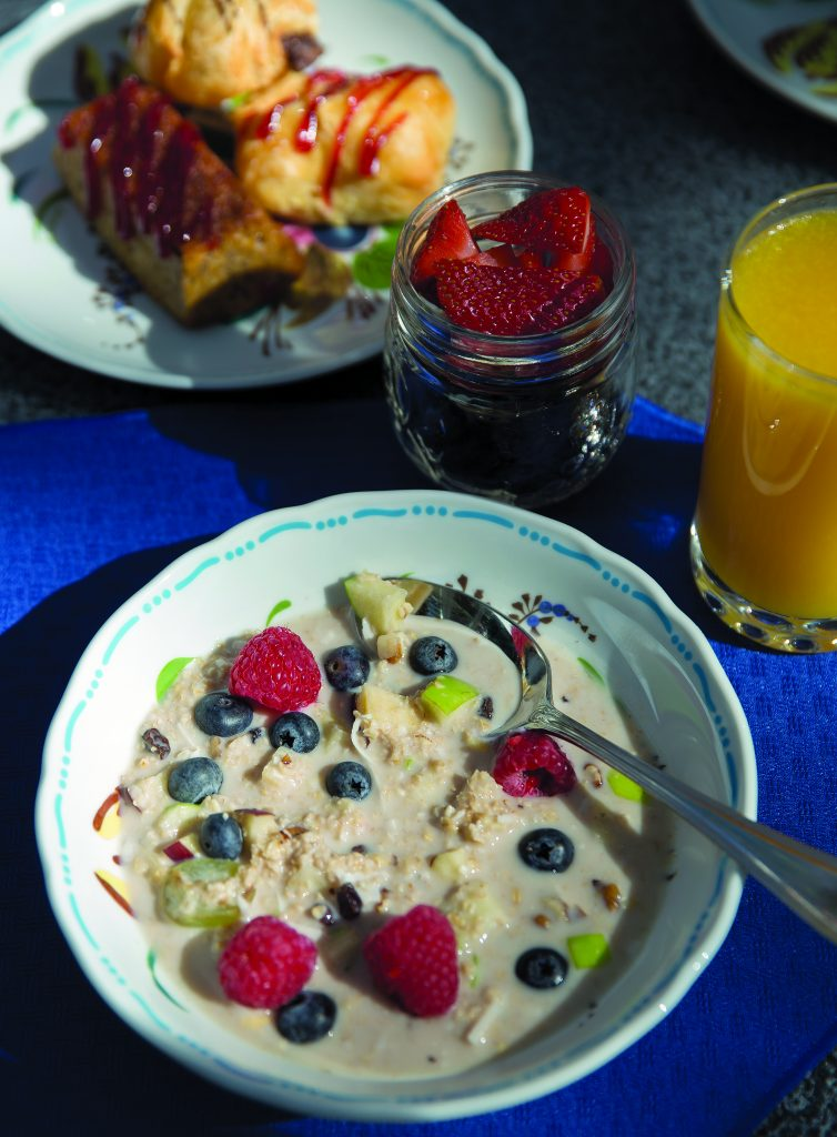 House-made muesli, fresh fruit and a pastry selection.