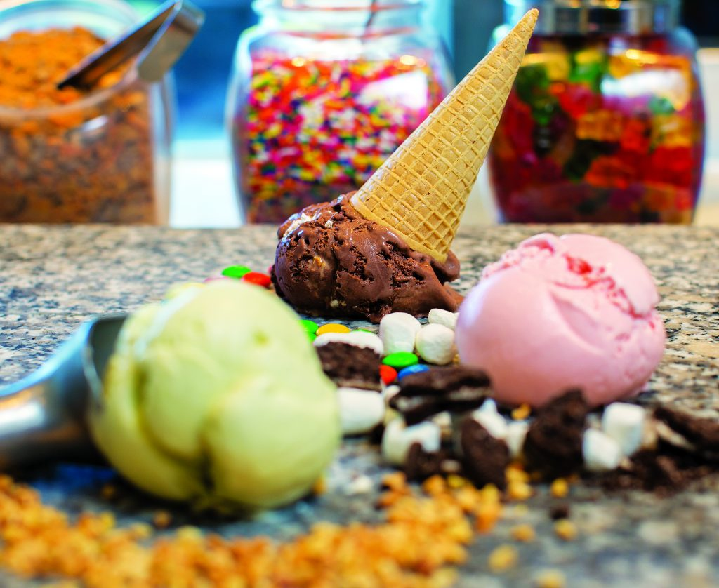 Assorted ice cream and topping flavors at Sundae's.