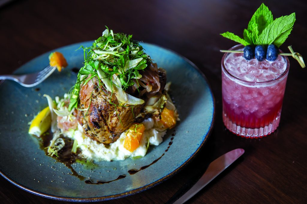 Slow Cooked Duroc Pork Shank: Mascarpone Polenta, Shaved Fennel Agrumi. The Blue Note with mint, maple syrup, lemon, blueberry shrub, bourbon.