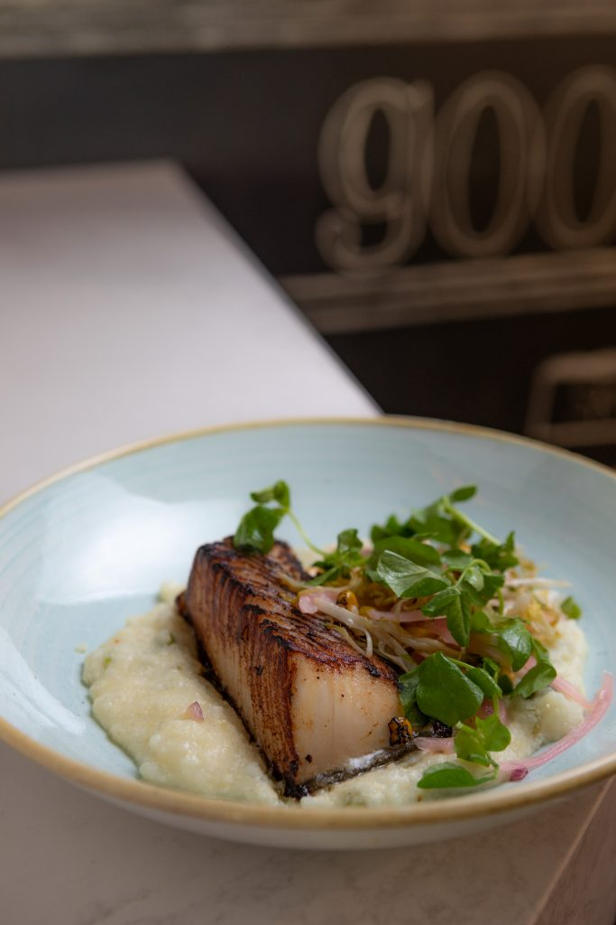 Chipotle miso Sable Fish   Sautéed corn salad, Roasted pablano grits, pickled onions from The Fitz Bar and Restaurant in Vail.