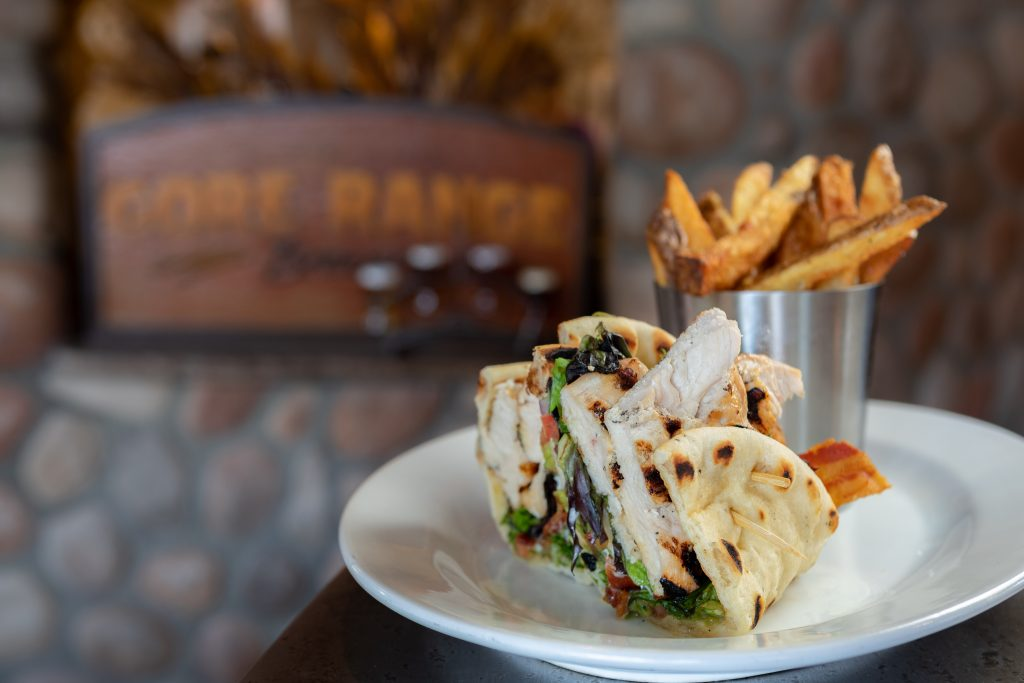 Chicken Flatbread | bacon, brie, ranch, guacamole and greens, naan bread from the Gore Range Brewery in Edwards.