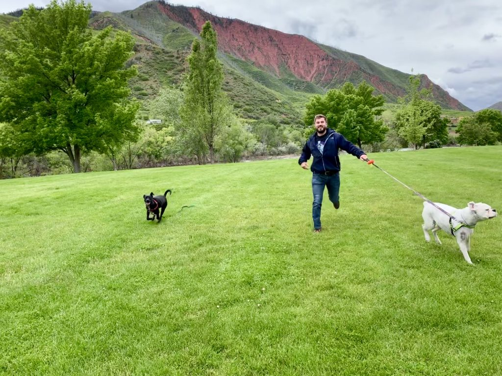 Connor Pankow chases after his two dogs, Koda and Luca. Koda went missing for 10 days near Piney Lake before making its way back to the Pankow's West Vail apartment.