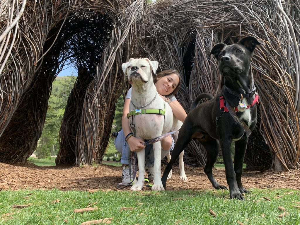 Ana Vallado Pankow with the Pankow's two dogs, Luca and Koda.