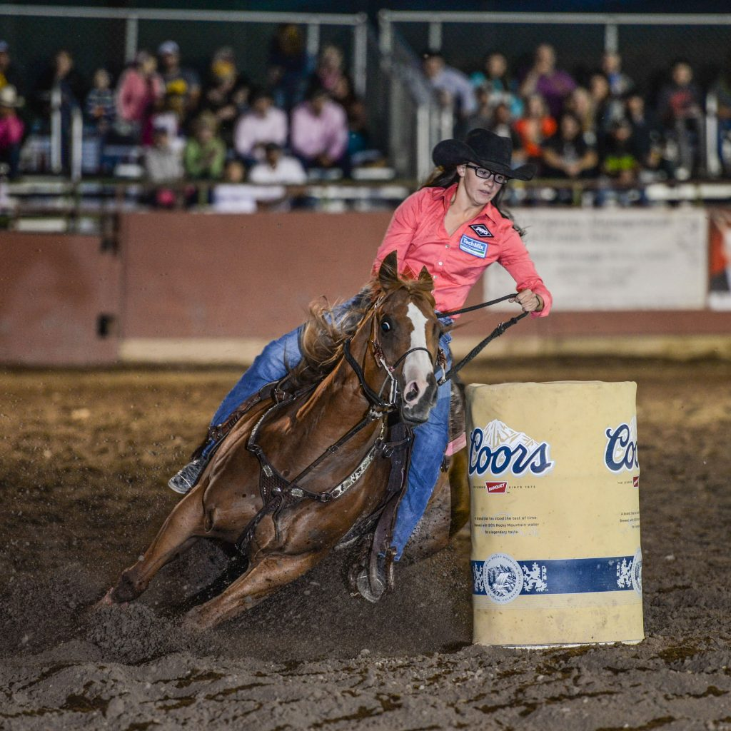 A barrel racer makes a turn during rodeo action at the Eagle County Fair& Rodeo.