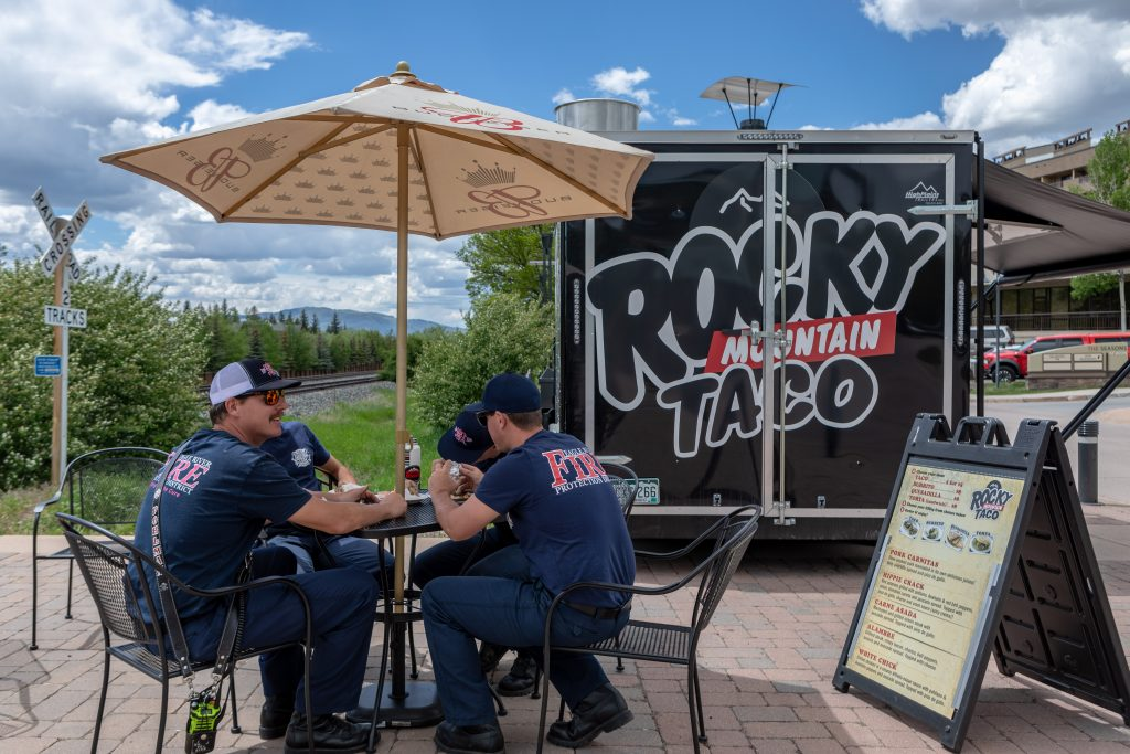 Patio dining at the Rocky Mountain Taco Truck in Avon.