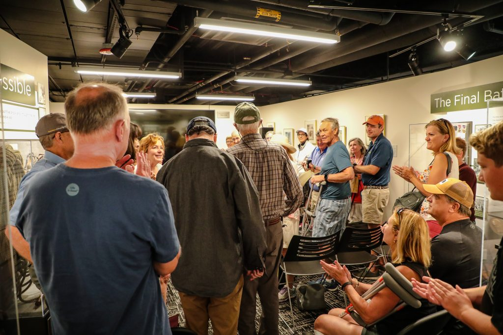 World War II and 10th Mountain Division veteran, Sandy Treat, gets a standing ovation as he walks in for his weekly talk at the Colorado Snowports Museum Friday in Vail. Treat speaks every Friday.