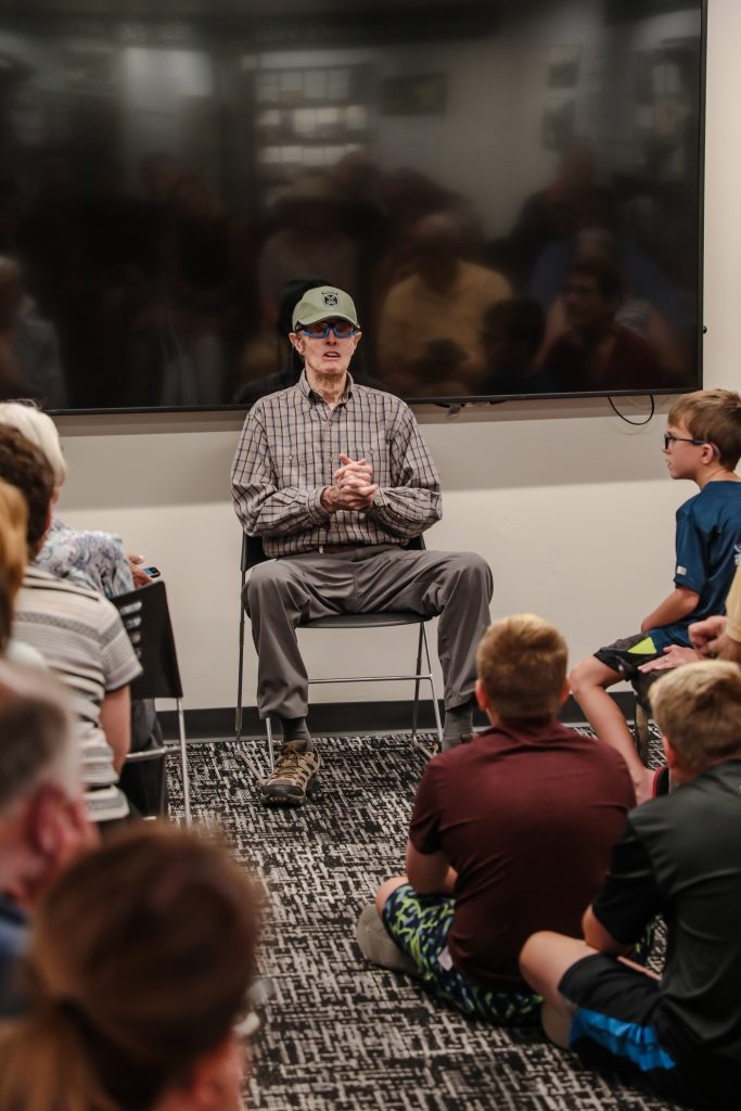 World War II and 10th Mountain Division veteran, Sandy Treat, speaks to a packed house during the 10th Division talks at the Colorado Snowports Museum Friday in Vail. Treat speaks every Friday.