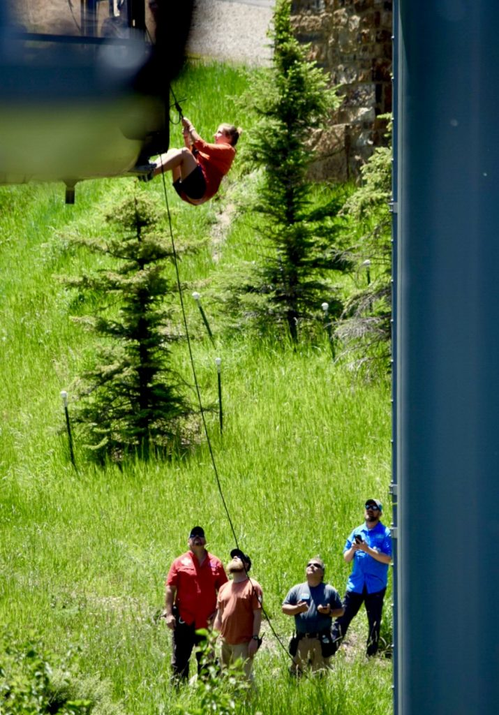 Members of the Vail Ski Patrol rescue workers trapped in the Eagle Bahn Gondola on Vail Mountain after the gondola broke down Wednesday morning.