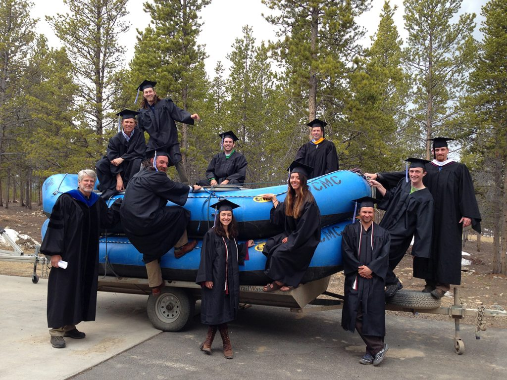 Colorado Mountain College Leadville, like many of the college's other campuses, offers degrees in outdoor education so graduates like these with their professor Kent Clement, lower left, can move directly from college to careers in the outdoor industry.