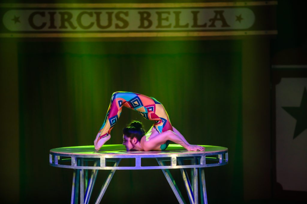 Dwoira Galilea, contortionist, shows true flexibility during the opening performance of Bella Circus Friday in Avon. It's all human-driven performances, with no animals used in any act.