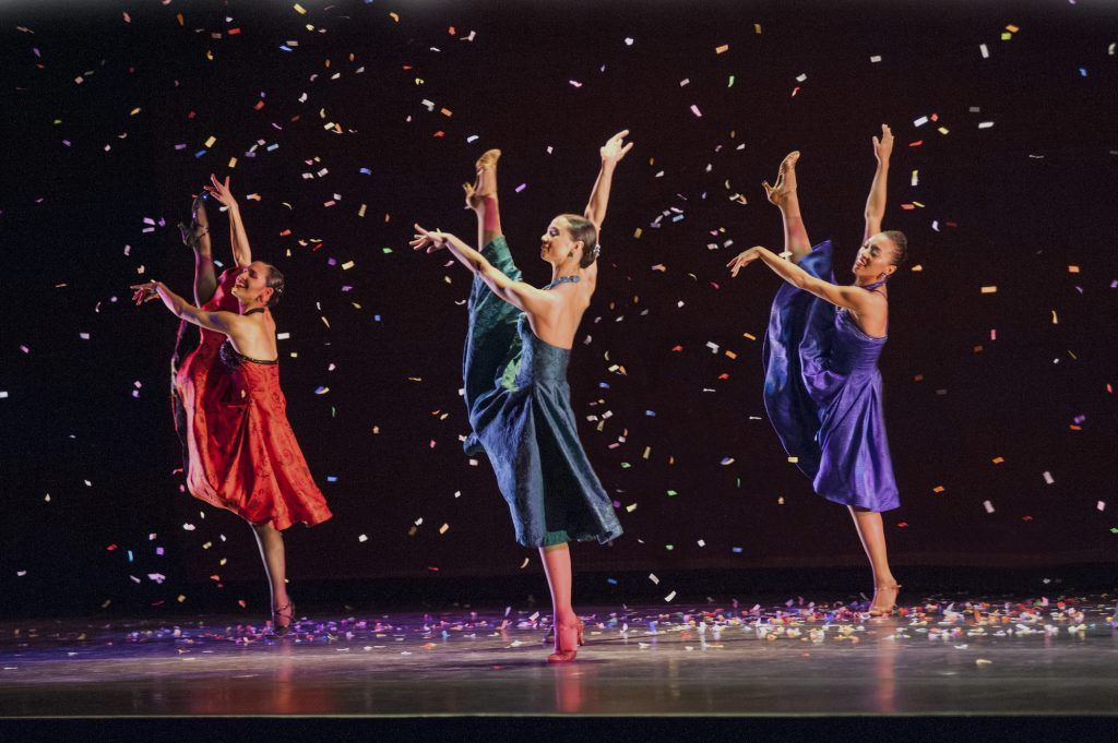 "Left to right: Melissa Verdecia, Eila Valls, and Jenna Marie of Ballet Hispanico performing in ""Club Havana"", which was featured on PBS's ""Live From Lincoln Center."" Ballet Hispanico performed at the 2019 Vail Dance Festival."