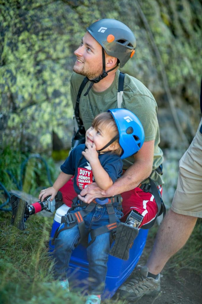 Triple amputee Jason Hallett went rock climbing with his twins during this week's Vail Veterans Program summer family session.