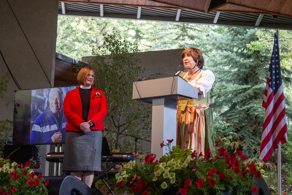 Sheika Gramshammer addresses the community at the celebration for her husband, Pepi Gamshammer at the Gerald R. Ford Amphitheatre. She expressed how grateful she is for the community support and hopes that the comminity will continue to remembering the legacy of her husband, Vail pioneer, Pepi Gramshammer.