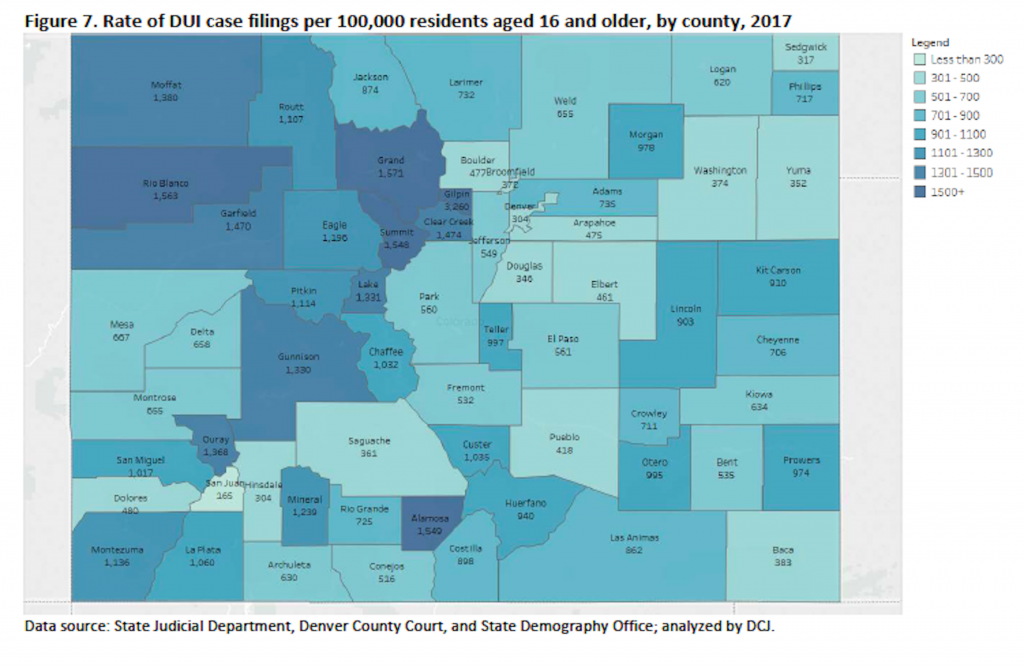 Eagle County saw 1,190 DUI arrests in 2017, the latest data available. It could be worse. Just over Vail Pass, Summit County's DUI rate was three times higher, 3,548.