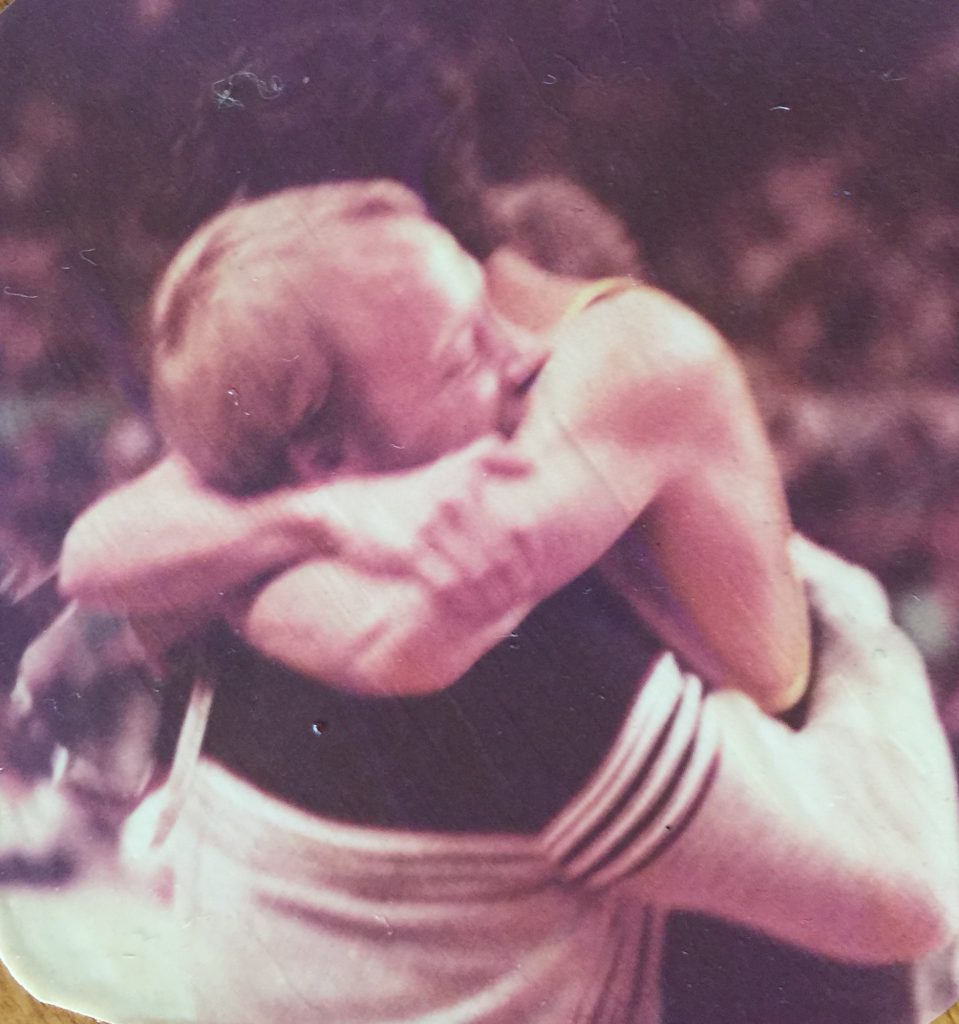 Along with so much else, Mike King taught life lessons through athletics. That's Tom Archibeque in King's embrace when Archibeque won a state wrestling title. Several Vail Valley alumni are launching a scholarship in King's honor.