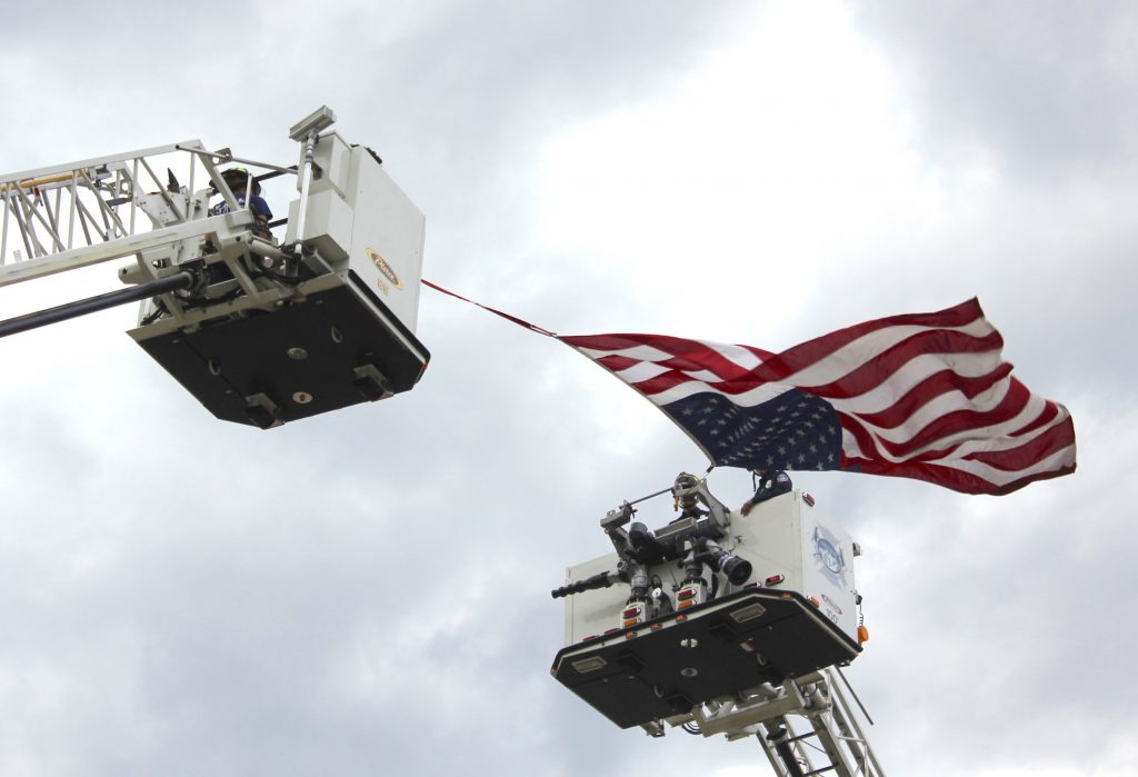 The American flag flew above the Rotary Public Safety Appreciation Awards.