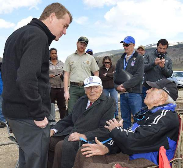 Colorado Senator Michael Bennet unveiled his idea to make Camp Hale a national historic landscape. Sandy Treat, right, a World War II and 10th Mountain Division veteran who trained at Camp Hale, explains to Sen. Bennet how it should go.