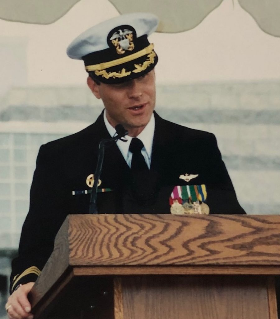That's Tom Trotter taking command of the Navy's TOPGUN school.