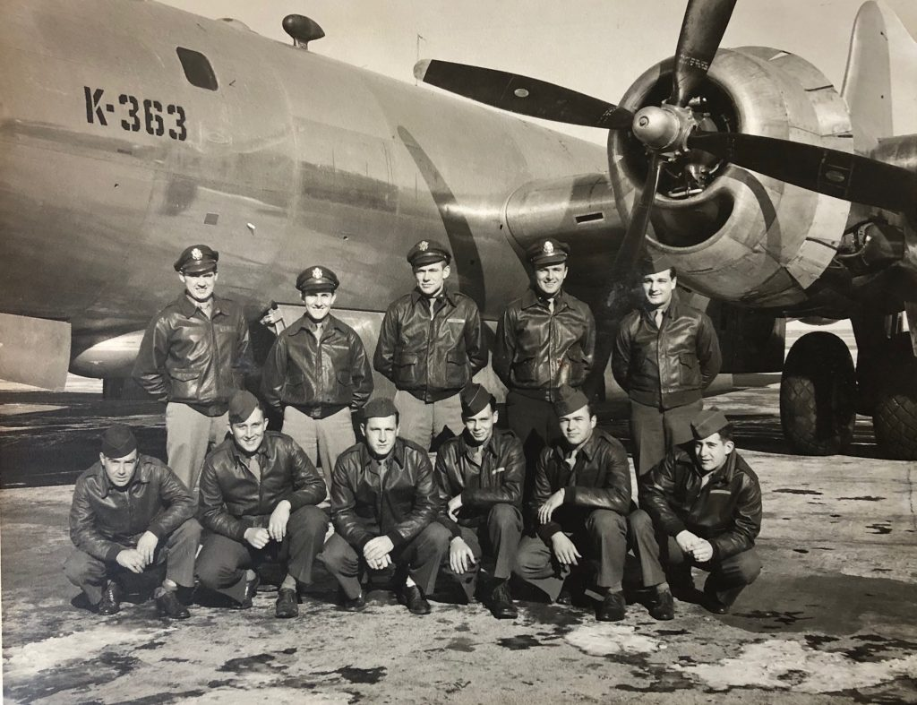 Sheldon Trotter, Tom's father, is in the back row, second from right, with his B-29 crew during World War II.