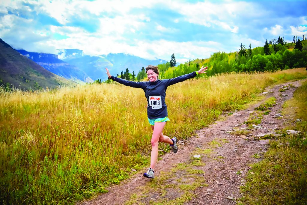An enthusiastic runner descends the double track on the MeadowGold trail run in Minturn in 2018. This Saturday marks the end of the Dynafit Vail Trail Running Series with a 5k and 10k.