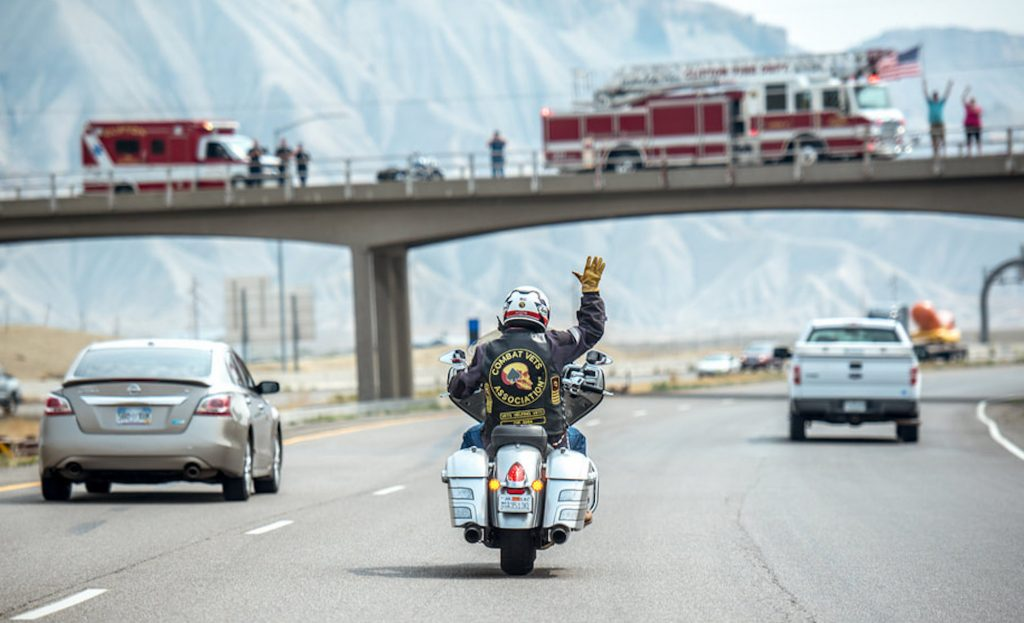 People greeted the Veterans Charity Ride at several locations along the route.