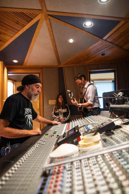 Ralph Pitt and Derek Brown during a recordng session at Mad Dog Studios on Aug. 14.