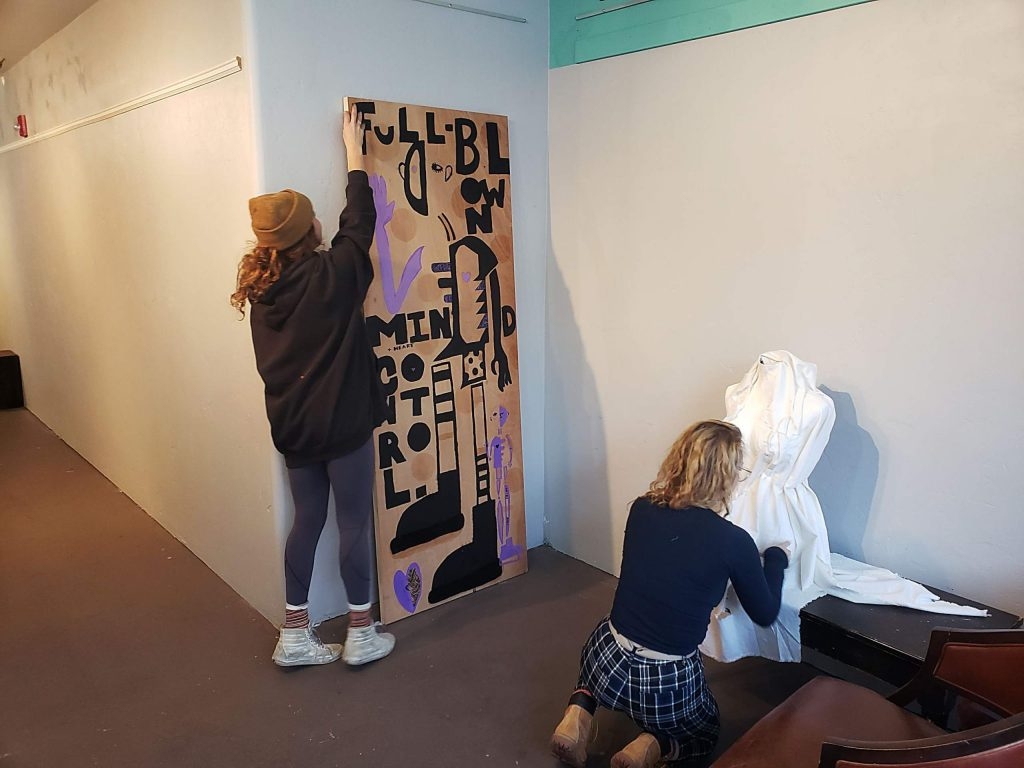 Students had the opportunity to hang their own exhibition.