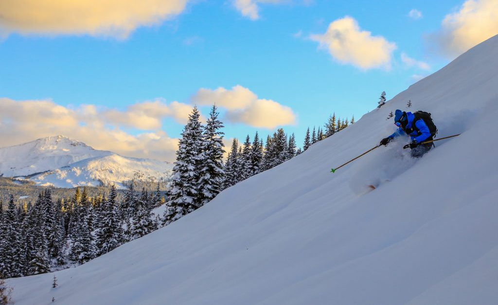 Bennett Levine skis a backcountry area outside of Vail on Wednesday, Oct. 23. Some areas of the state recorded record snowfall totals in October, kicking off an early start to the ski and snowboard season in Colorado.