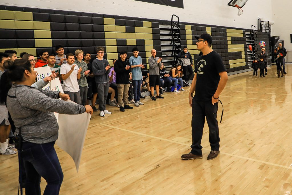 Manuel Panuco Moreno, a custodian at Battle Mountain High School, is welcomed by students, staff and family on Thursday for a special announcement in the school's gym. Unbeknownst to him, Pacuno Moreno and his family were named a partner family with Habitat for Humanity Vail Valley. Panuco and his family are the sixth school district staff family to partner with Habitat under a program that's the first of its kind in the country.