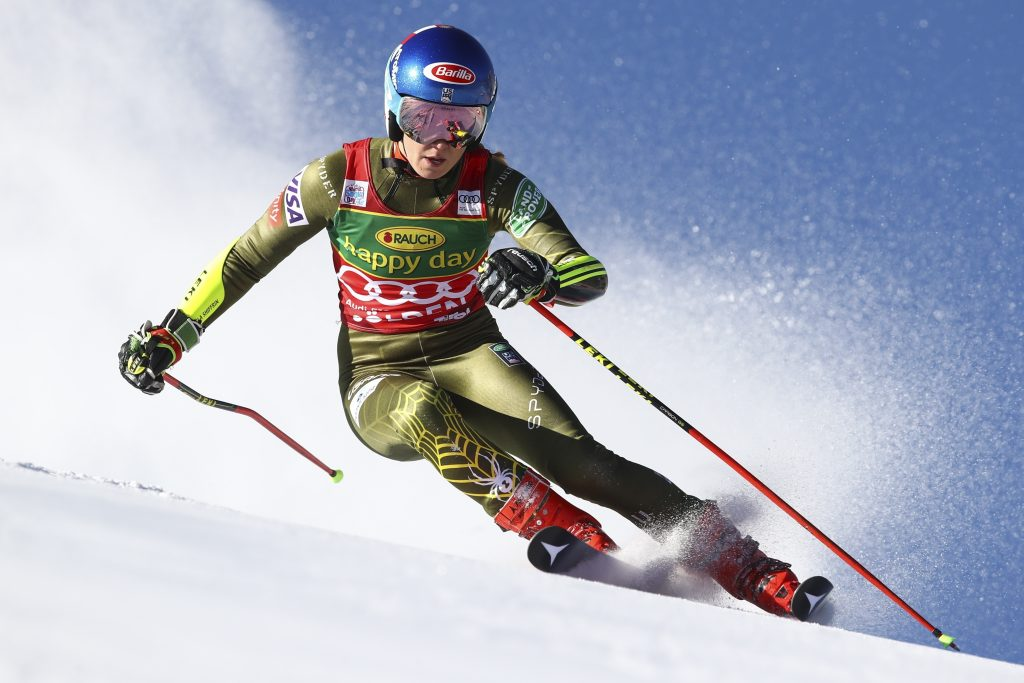 Mikaela Shiffrin zips down the course on Saturday during the World Cup giant slalom in Soelden, Austria, on Saturday. Shiffrin finished second behind New Zealand's Alice Robinson.