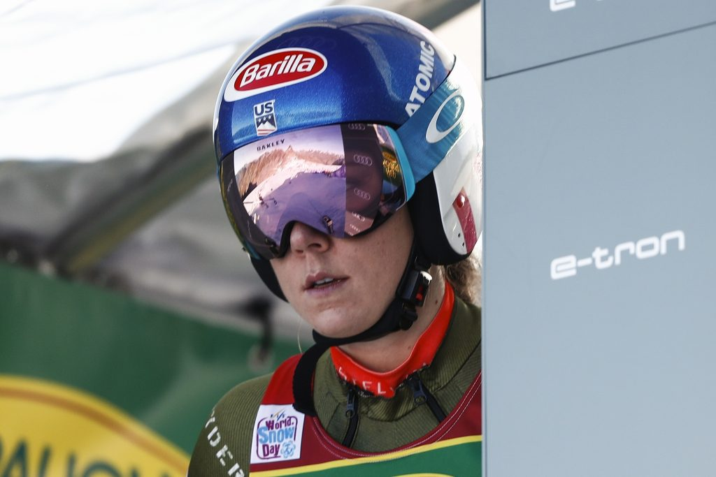 Mikaela Shiffrin is in the starting gate in Soelden, Austria for Saturday's World Cup giant slalom. She finished second, improving upon her third-place finish last season.